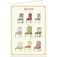 Bonjour Antique Chairs Card