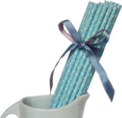 Paper Straws, Blue Polka Dot