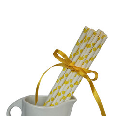 Paper Straws, Lemon Yellow Polka Dots