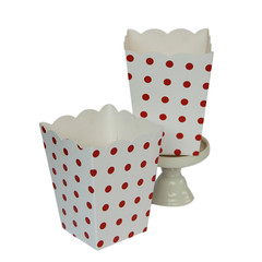 Popcorn Box, White with Red Polka Dots