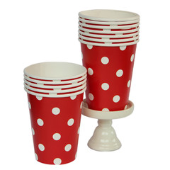 Polka Dot Party Cups, Red with White