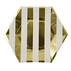 Holiday Stripes, Gold Plates, Large