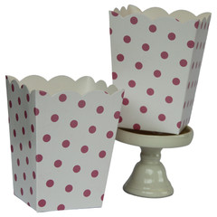 Popcorn Box, White with Pink Polka Dots