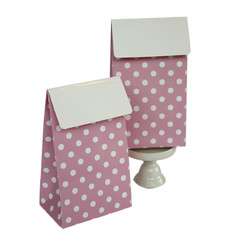 Favor Box, Pink and White Polka Dots