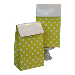 Favor Box, Yellow and White Polka Dots