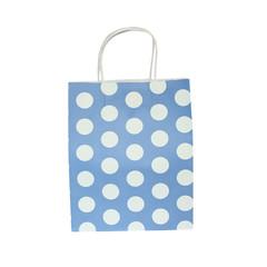 Party Bag, Aqua Blue Polka Dots, Large