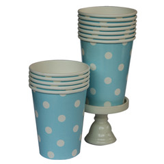 Polka Dot Party Cups, Light Blue with White