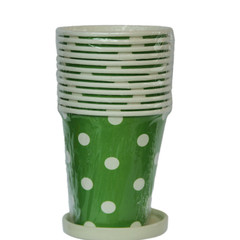 Polka Dot Party Cups, Green with White