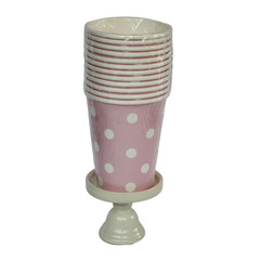 Polka Dot Party Cups, Pink with White