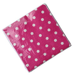 Polka Dot Napkins, Hot Pink with White