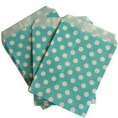 Treat Bag, Aqua Polka Dots