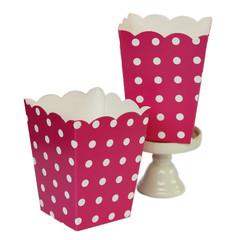 Popcorn Box, Hot Pink Polka Dots