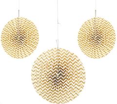 Paper Pinwheel, Metallic Gold Chevron