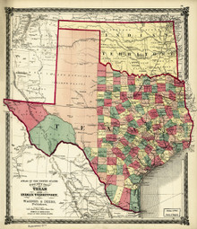 1874 County Map of Texas and Indian Territory