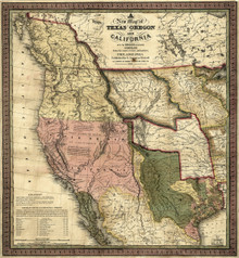 1846 A New Map of Texas, Oregon and California
