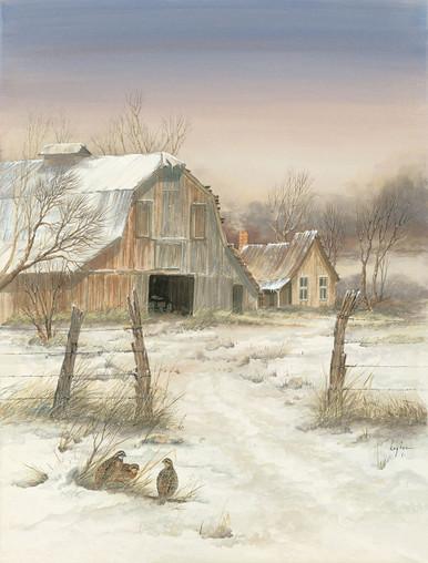 Kay Fox Winter Barn Fine Art Giclee Print