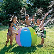 "36"" Semi-Gloss 6 Color SPRINKLER Beach Ball - Water Sprayer"