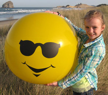 "36"" IMPRINTS 1 Color MR. COOL! Smiley Beach Ball With Sunglasses"