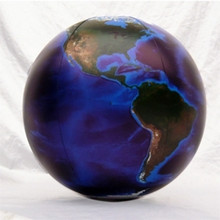 "24"" Inflatable Earth Globe DARK BLUE, OCEANS"