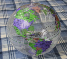 "16"" Inflatable Earth Globe CLEAR Vinyl - P"