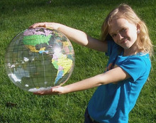 "16"" Inflatable Earth Globe CLEAR Vinyl - B"
