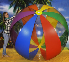 "108"" 12 Panel 6 Color Clear & Rainbow Stripe Beach Ball - CUSTOM"