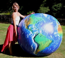 "72"" Inflatable Dark Blue OUTER SPACE VIEW Earth Globe w/ Clouds"