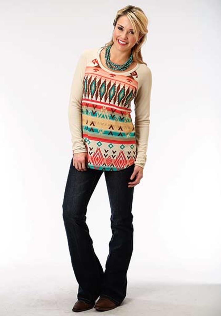 Women's Roper L/S, Cream Sweater with Aztec Print