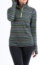 Women's Cinch Pullover, Green, Blue and White Aztec Stripe, 1/4 Zip