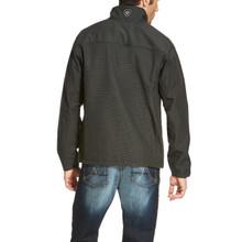 Men's Ariat Jacket, Vernon, Softshell, Black with White Gridlines