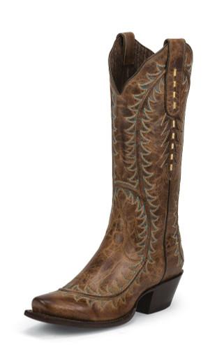 Women's Nocona Boot, Snip Toe, Vintage Brown w/ Turquoise Stitch