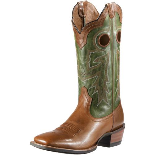 Men's Ariat Boot, Green/ Tan w/ Tan Stitch