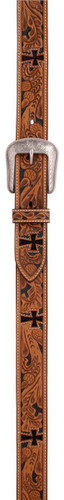 Men's 3D Belt, Acorn Tooled, Cross Cutouts, 1- ½ ""
