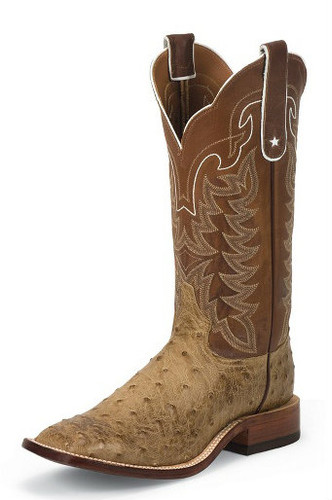 Men's Tony Lama Boot, Full Quill Ostrich, Antique Tan San Saba