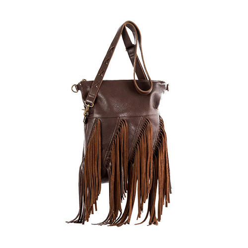 Women's STS Purse, Chocolate, Freebird Fringe