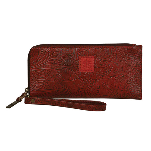 Women's STS Wristlet Clutch, Burnt Apple