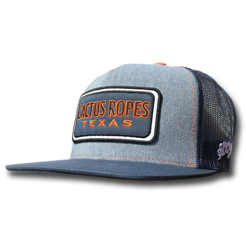 Men's Hooey Cap, Cactus Ropes, Blue and Navy, Trucker Style