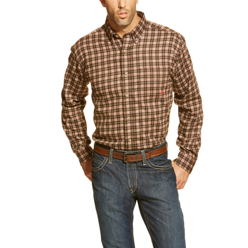 Men's Ariat L/S, FR Brown Plaid