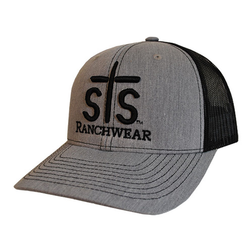 Men's STS Cap, Gray and Black, Mesh Back