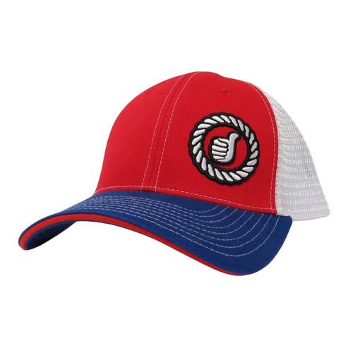Men's Dally Up Cap, Red, White/Blue, Round Logo