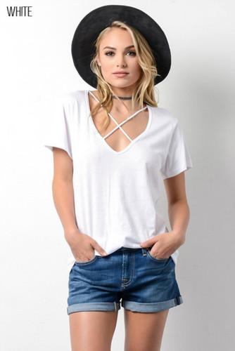 Women's Wishlist Apparel Shirt, Criss Cross, Short Sleeve