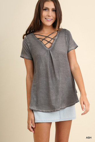 Women's Umgee S/S, V Neck Criss Cross, Embroidered