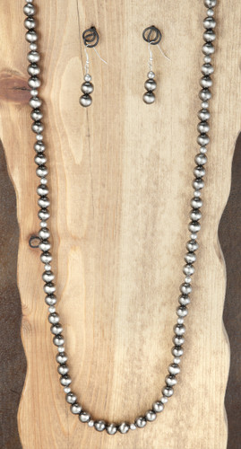 West & Co. Necklace & Earrings, Worn Silver Beads, Single Strand