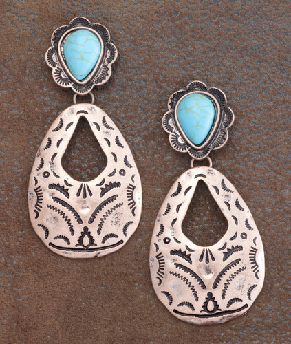 West & Co. Earrings, Copper Teardrop with Turquoise Stud