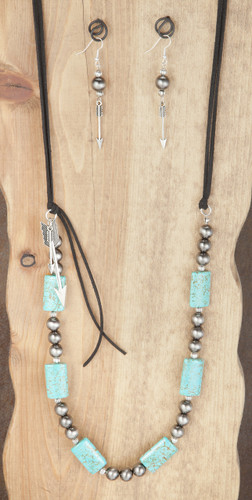 West & Co. Necklace & Earrings, Black Suede Cord. Turquoise Stones, Arrows