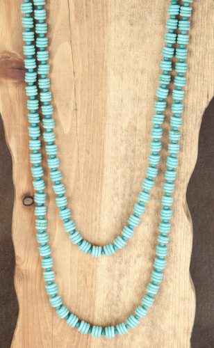 West & Co. Necklace, Turquoise Disk Beads, 2 Strand