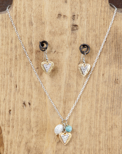West & Co. Necklace and Earrings, Gold and Silver Heart Charms