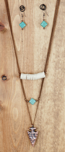 West & Co. Necklace, Three Layer Copper Arrowhead, Turquoise and Ivory Accents