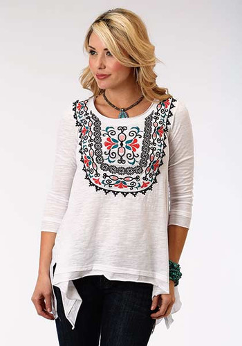 Women's Roper L/S, White with Red, Blue and Black Embroidery
