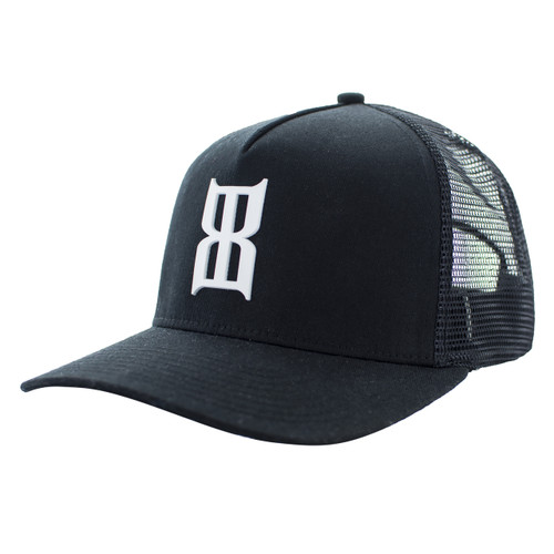 Men's Bex Cap, Braille, Black with White Logo, Trucker